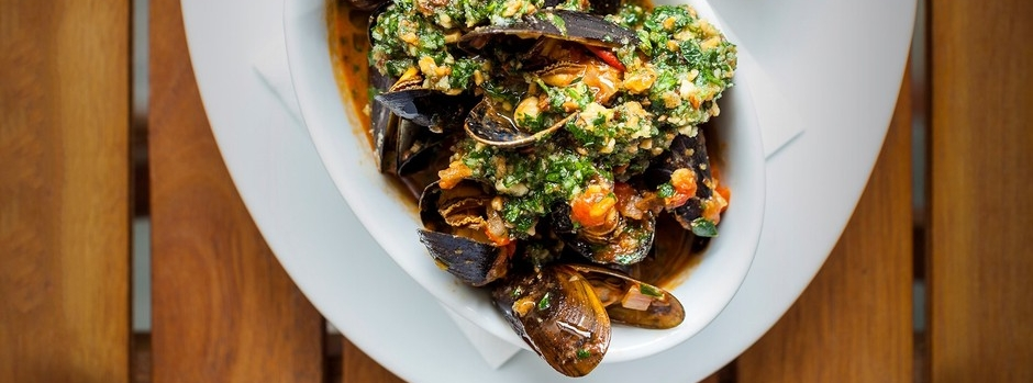 Spicy Catalan mussels with almond picada from Olive Magazine