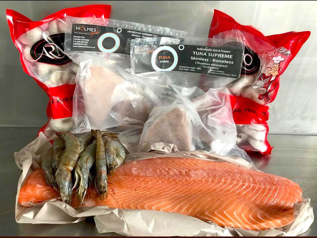 The hamper is packed with seafood - enough for a barbecue for 20-25 people
