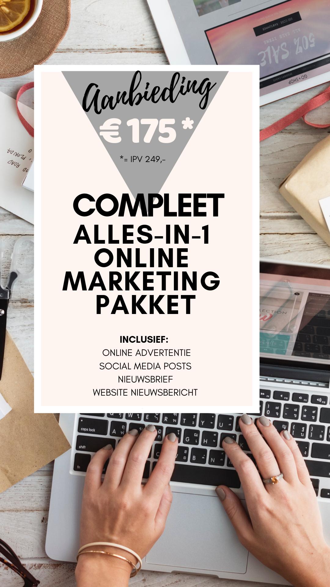 Reserveer hier je alles-in-één online marketingpakket voor € 175,- excl. btw -