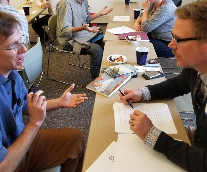 "Gettysburg Review Editor Mark Drew (right) at 2017's ""Speed Dating with Editors"" session."