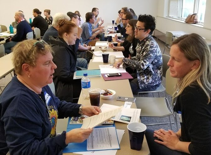 Creative Nonfiction Editor Hattie Fletcher speed dating at the 2018 Pittsburgh conference.