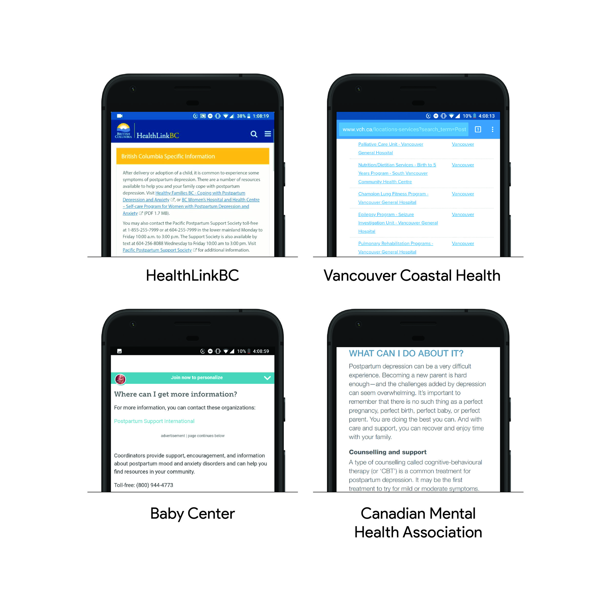 Four examples of resources I explored from Google Search's most popular results for postpartum depression care.