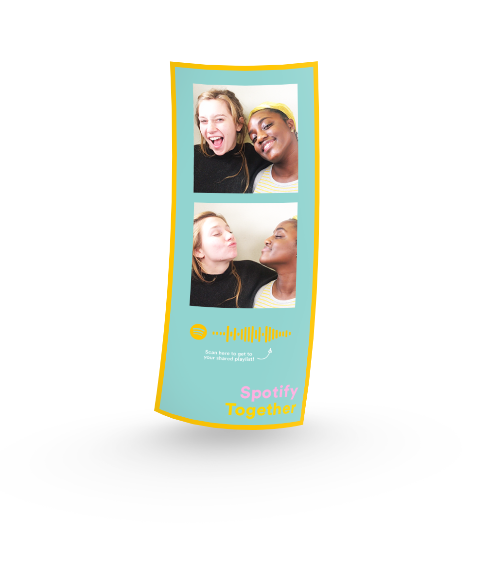 After the in-booth experience, users will be receive a photo strip with a code to their customized playlist.