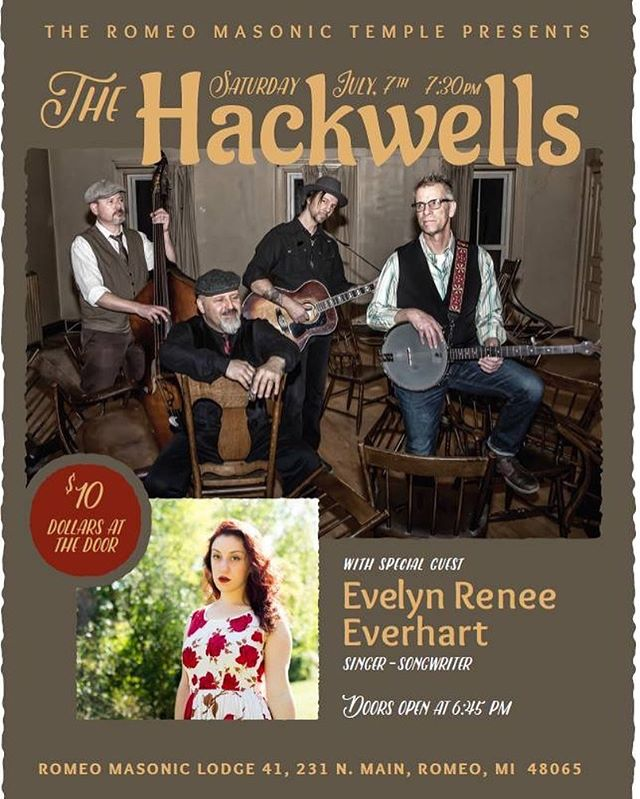 This Saturday! We have a special guest opening for us also!!! #romeomasonictemple #romeomichigan #thehackwells #johndobat #altcountrymusic @evelynreverhart @thehackwells