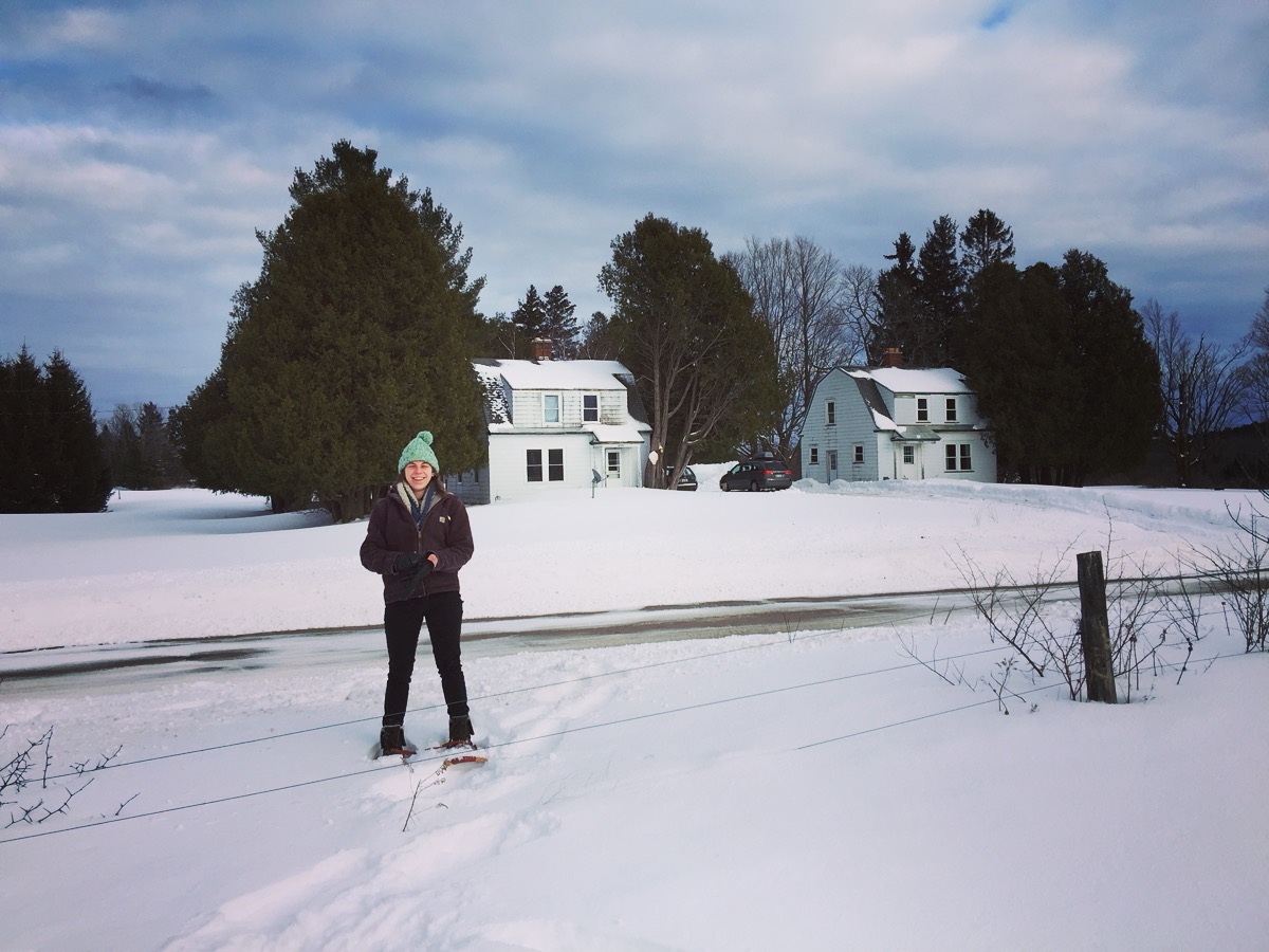 Heading out to snowshoe through the woods and fields. That's our house on the right!