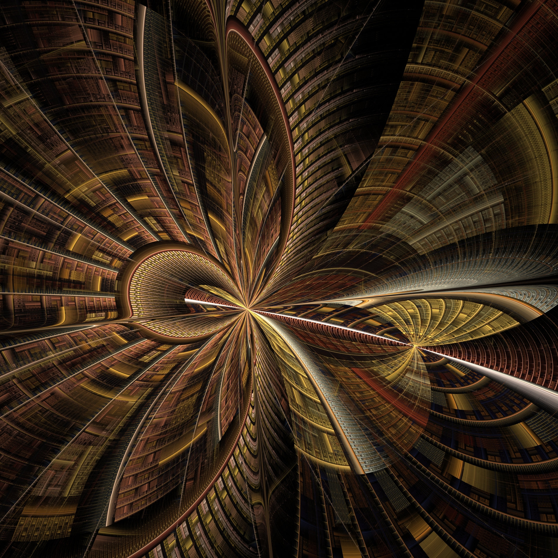 Abstracted swirling bookcases