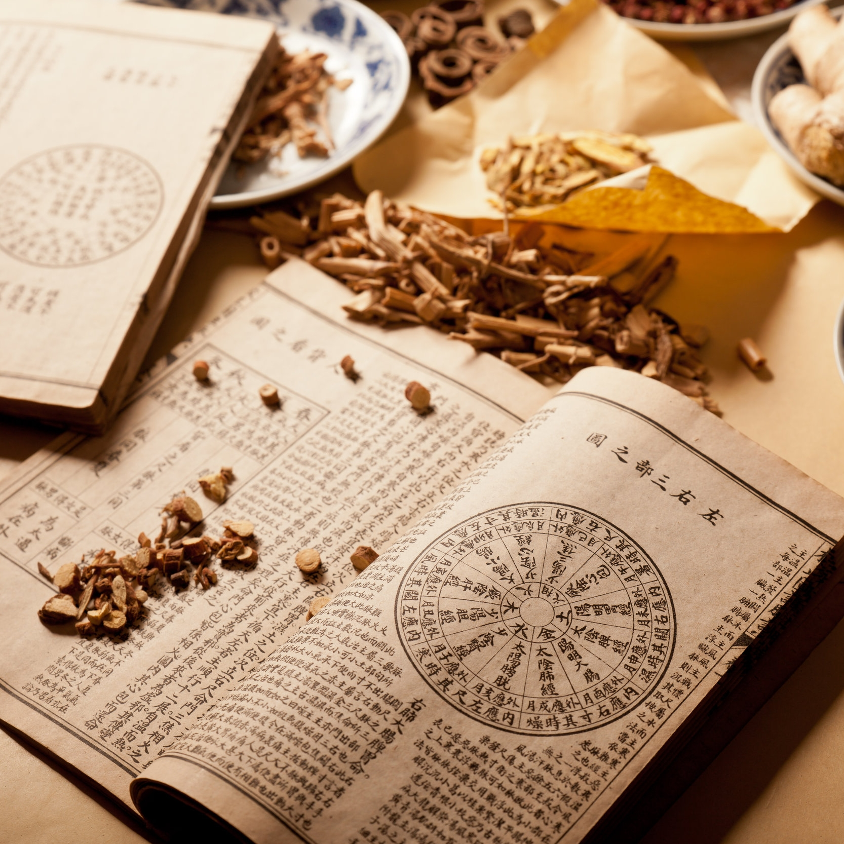 Chinese herbs scattered across a traditional Chinese medicine book