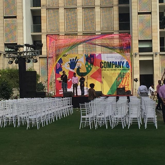 The set up is nearly complete for this evenings concert! What a beautiful stage! #Delhi #jaipurjazzfestival #india #companybjazzband #companybgoestoindia #musicalexchange #vancouvermusicians #ontour #tourlife #pinchme #concert #stage #outdoorconcert #jazzinindia #womeninjazz #threepartharmony #vintagejazz #canadianmusicians #representingthetruenorthstrongandfree #ohcanada