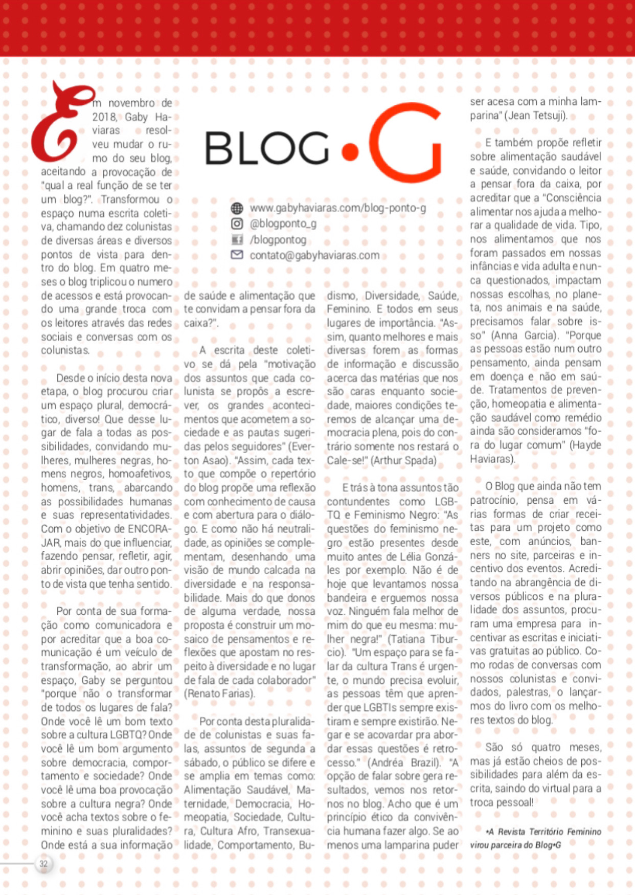 REVISTA TERRITORIO FEMININO - ABRIL 2019
