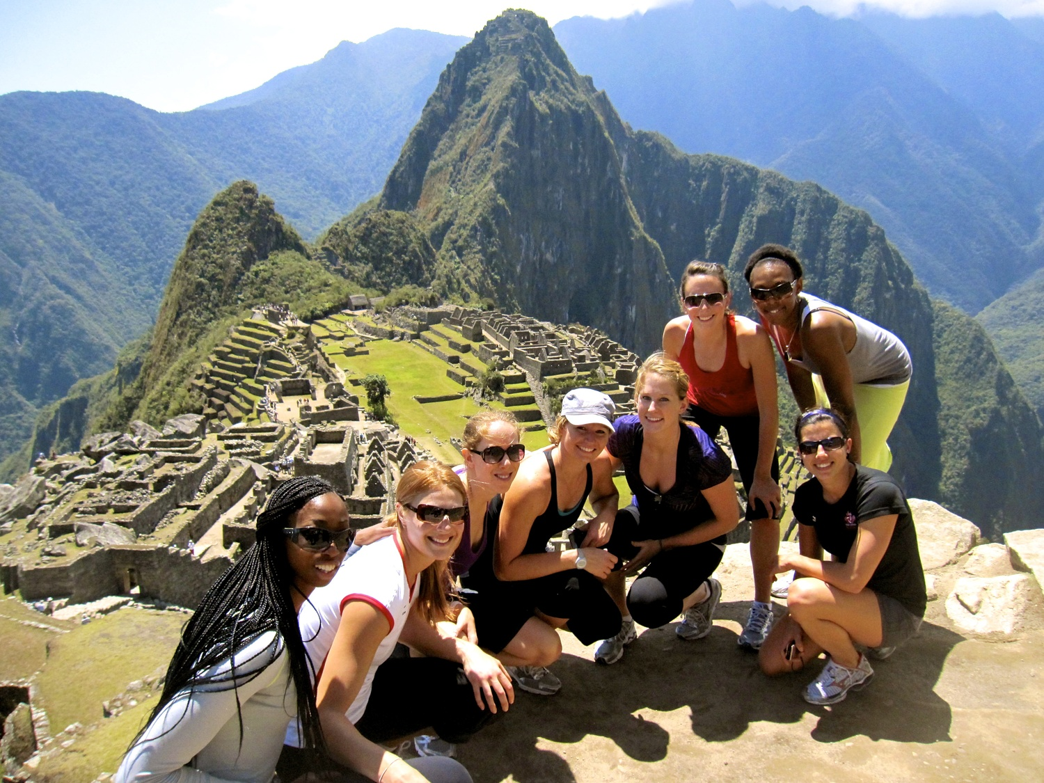 On top of Machu Picchu,a 15th-century Inca site located 2,430 metres above sea level.