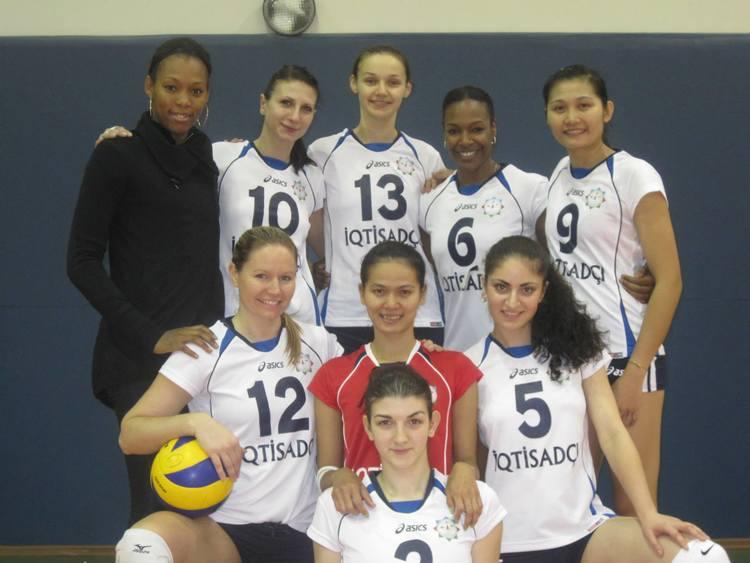 Tammy's Iqtisdachi Baku team in Azerbaijan.