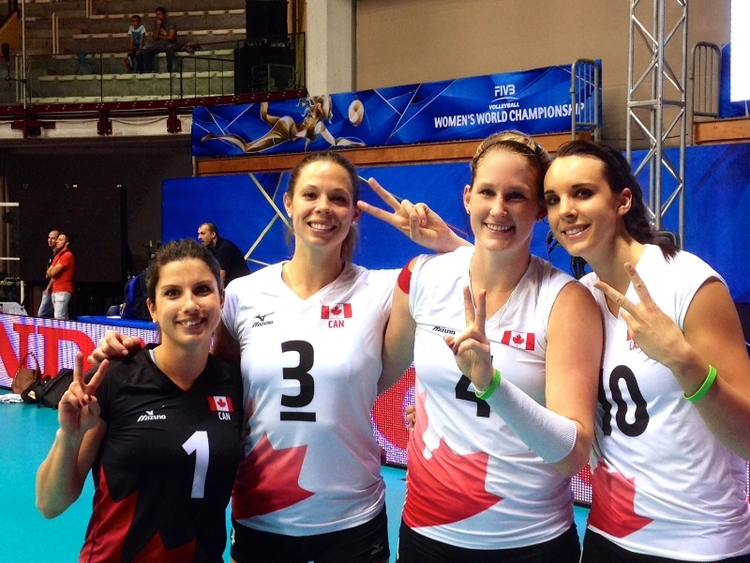 Us oldies at our second World Championships; the only four women's Team Canada players that have ever played in more than one championship.