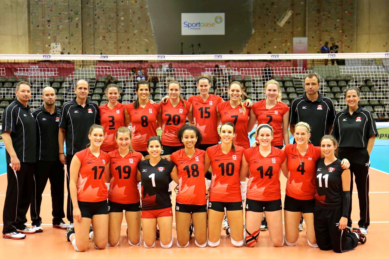 Team Canada Women's Volleyball Team in Leuven, Belgium. Grand Prix 2014.