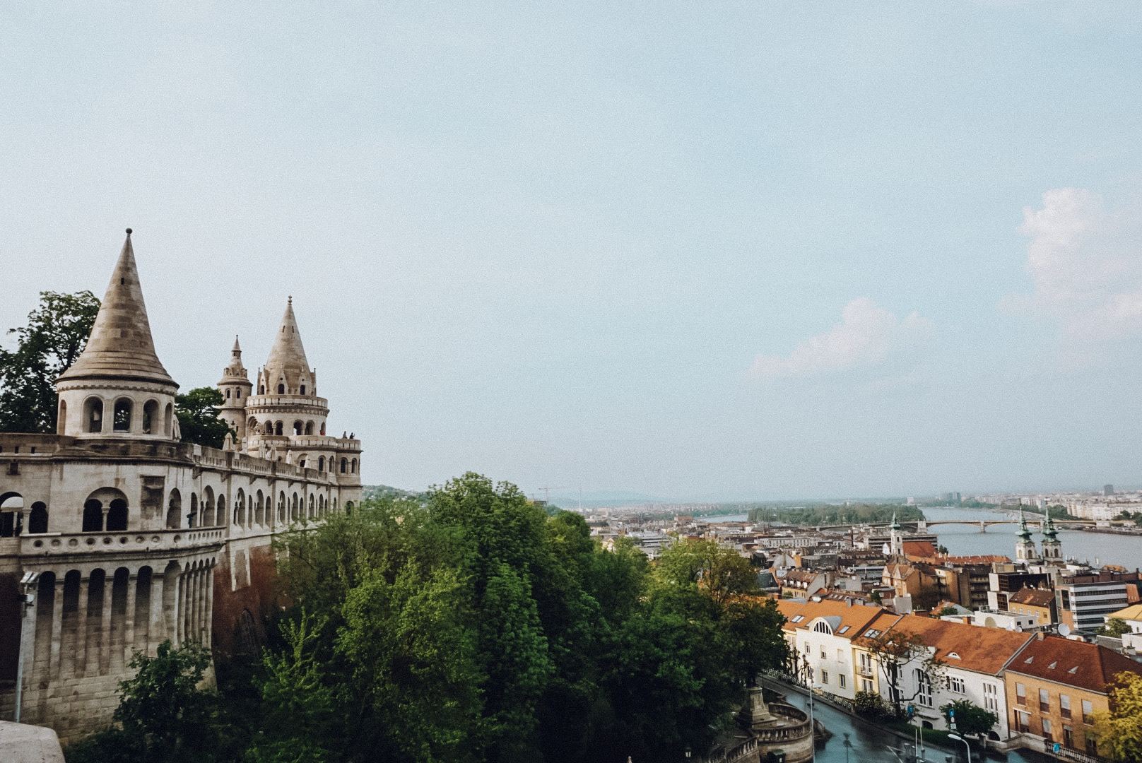 A viewpoint from  Fisherman's Bastion  on the Buda bank of the Danube. Over the bridge is the Pest side of the city.