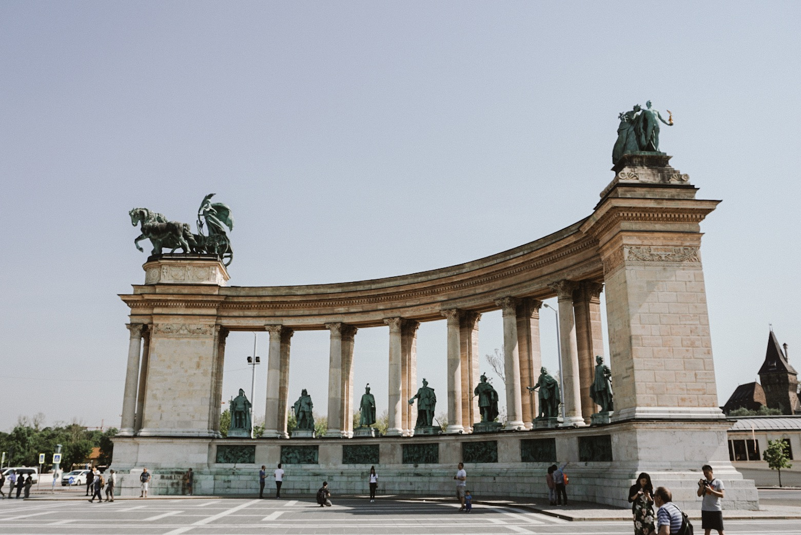Heroes Square:  At the base of the columns are the Seven Chieftains of the Magyars or clans.These clans eventually established the Principality of Hungary.