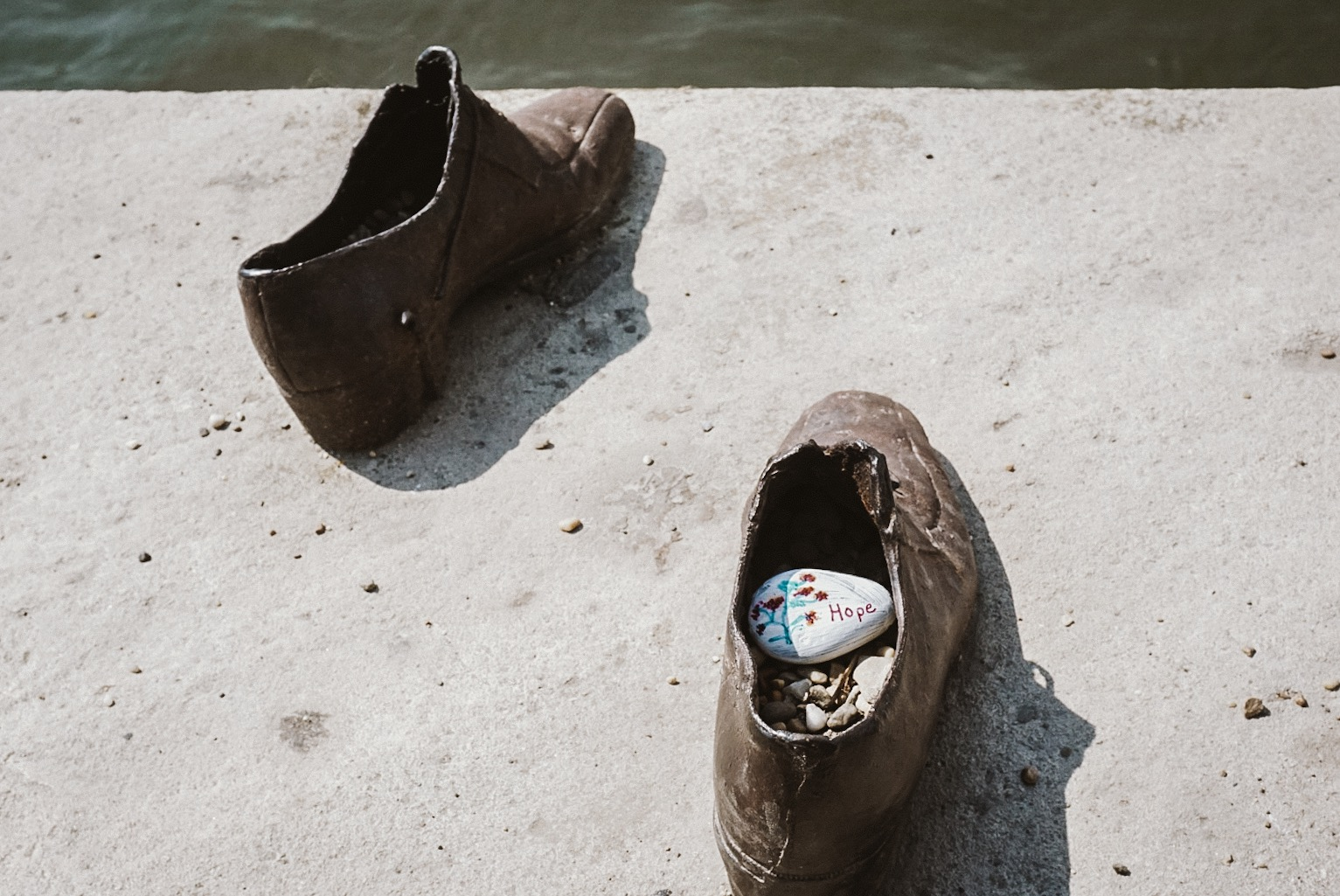 Shoes on the Danube River Bank:  one of the most moving memorials that can be found openly in the city. These shoes cover a stretch of the river bank.