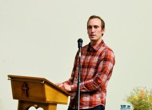 """Paul Wiemerslage presenting at the """"100+ Women Who Care"""" meeting"""