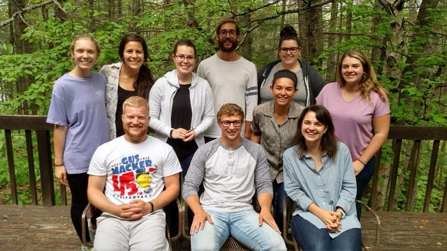 Rachel Lamb (back row, third from left) with a group of students from 2018