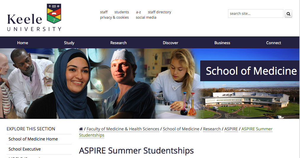 We have been awarded an ASPIRE summer studentship! - May 8th 2019