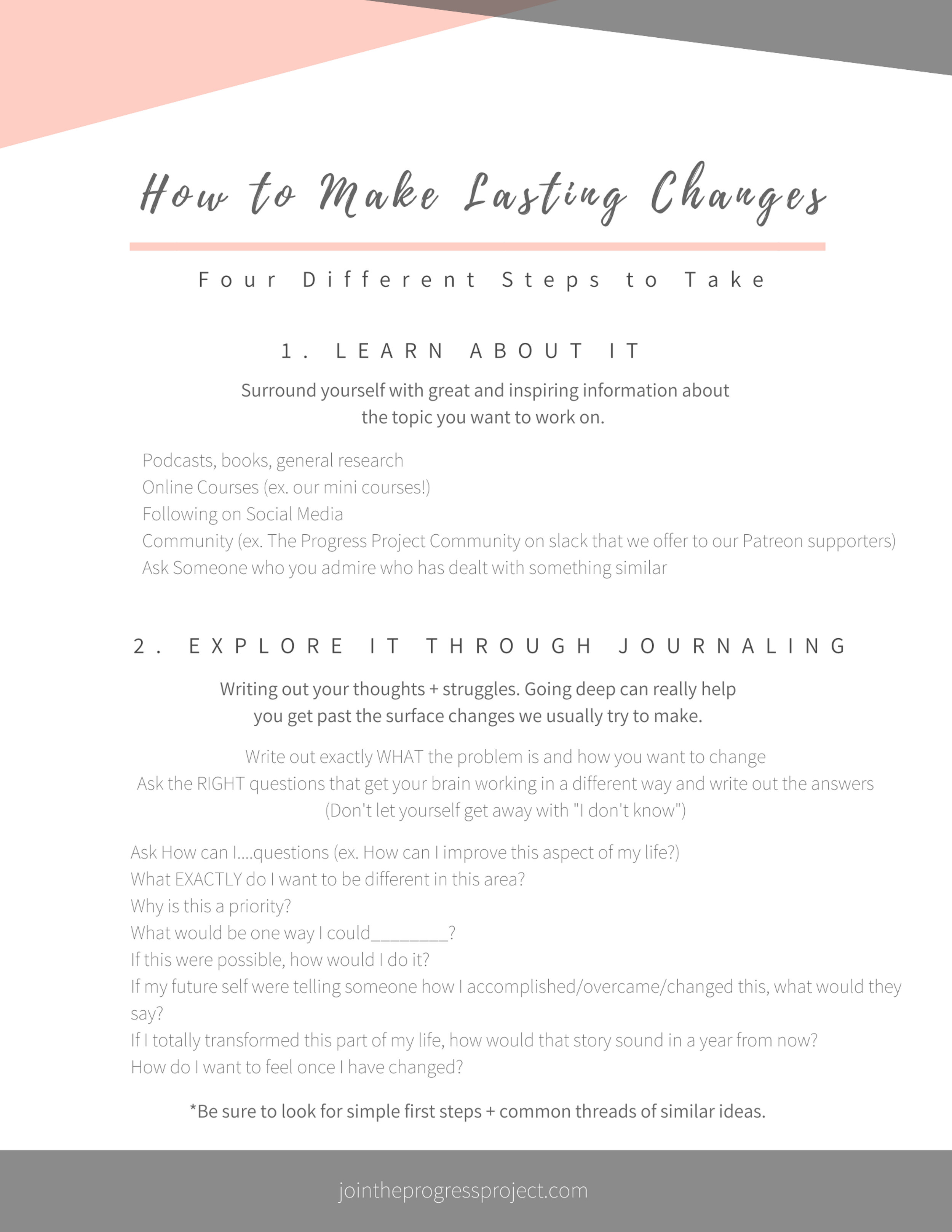 Guide for How to Make Lasting Changes