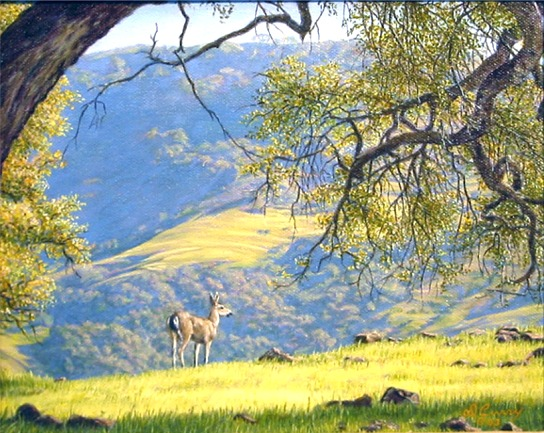 """Under The Oak""  by Dennis Curry   The coastal hills of California come to verdant life with winter rains after the dry brown months of summer."