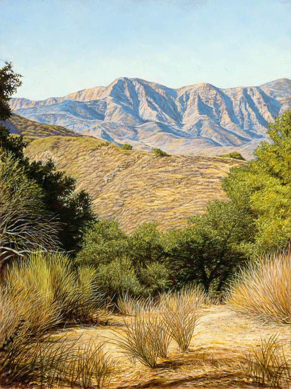 """""""Path to the Mountains""""   by Dennis Curry    Begun on location, this painting depicts the San Rafael mountains from the area around Lake Cachuma California."""