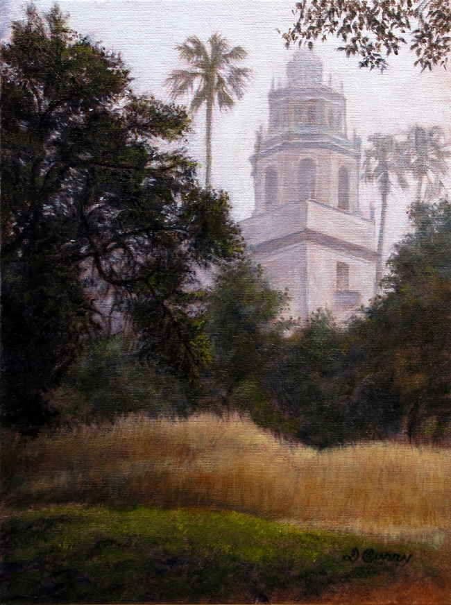 """""""Through the Trees""""   by Dennis Curry    A foggy glimpse through the oaks at one of Hearst Castles towers."""