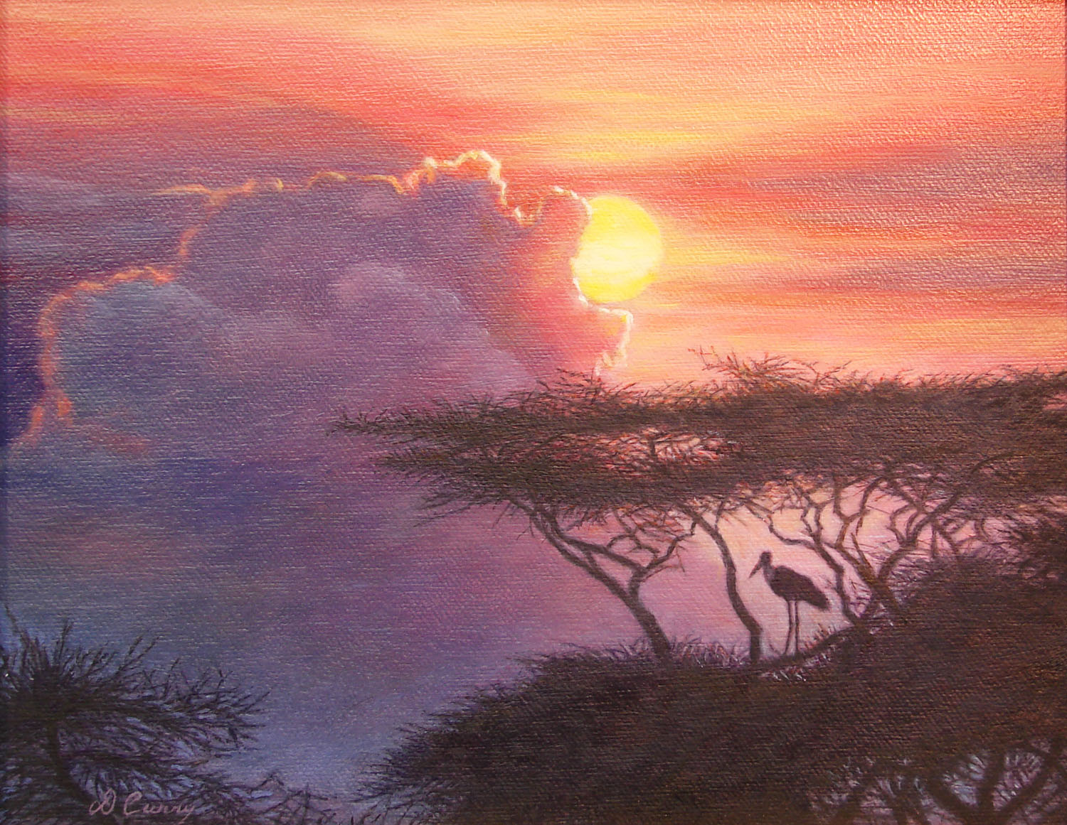 """Sunset Sentinel""                                     ~SOLD~    by Dennis Curry    A Maribou Stork stands watch as the sun sets on the Serengeti."