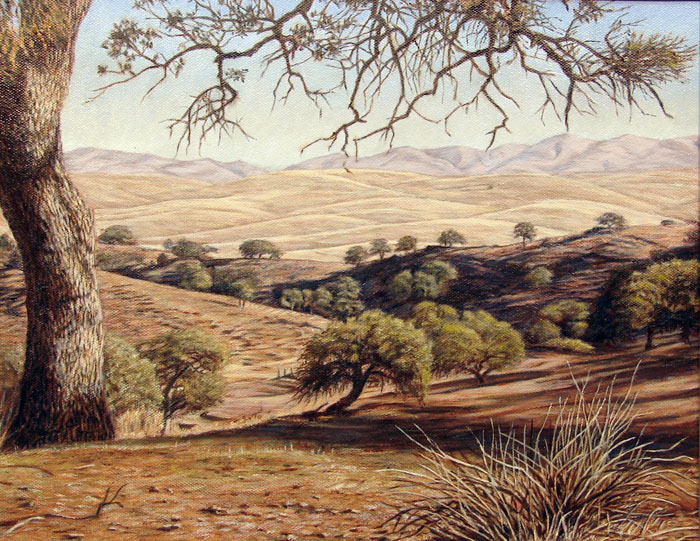 """""""Chimineas Ranch""""   by Dennis Curry    This painting was started Plein Air a the historic Chimineas Ranch; a 30,00 acre former cattle ranch and now a part of the Carrizo Plains Ecological Reserve in San Luis Obispo County California.    My visits to the site were part of SLOPE's ongoing efforts to raise awareness and funds for significant natural resources in our county  ."""