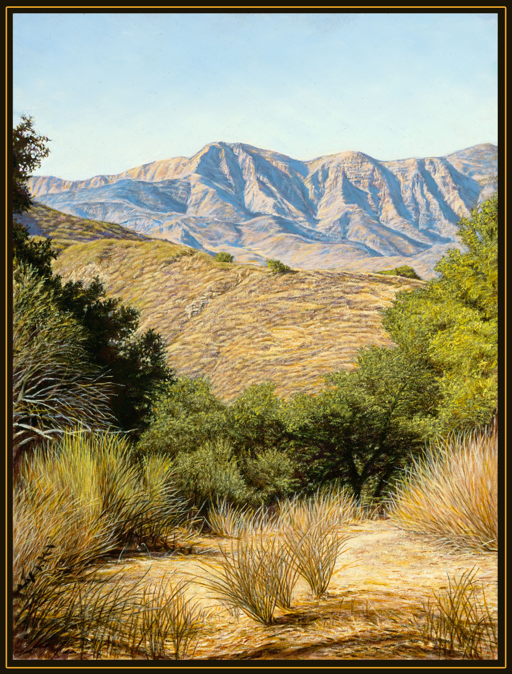 """Path to the Mountains"" by Dennis Curry  Begun on location, this painting depicts the San Rafael mountains from the area around Lake Cachuma California."