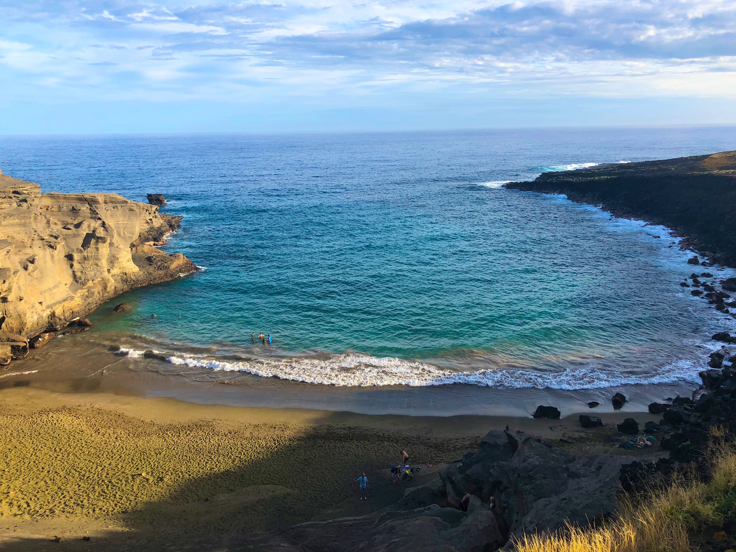 The view of the Green Sand Beach from the top of the steep ridge.