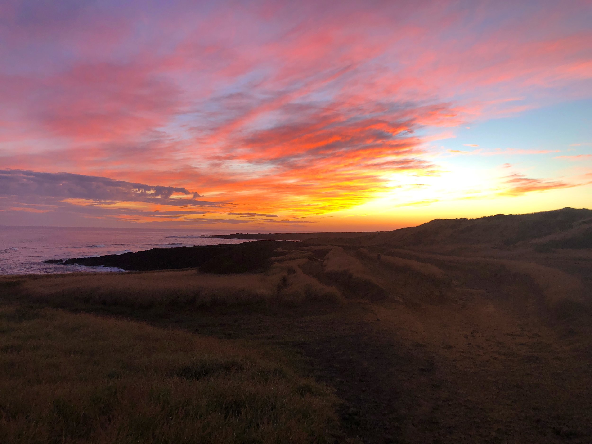 A truely magnificent sunset at we left Green Sand Beach.