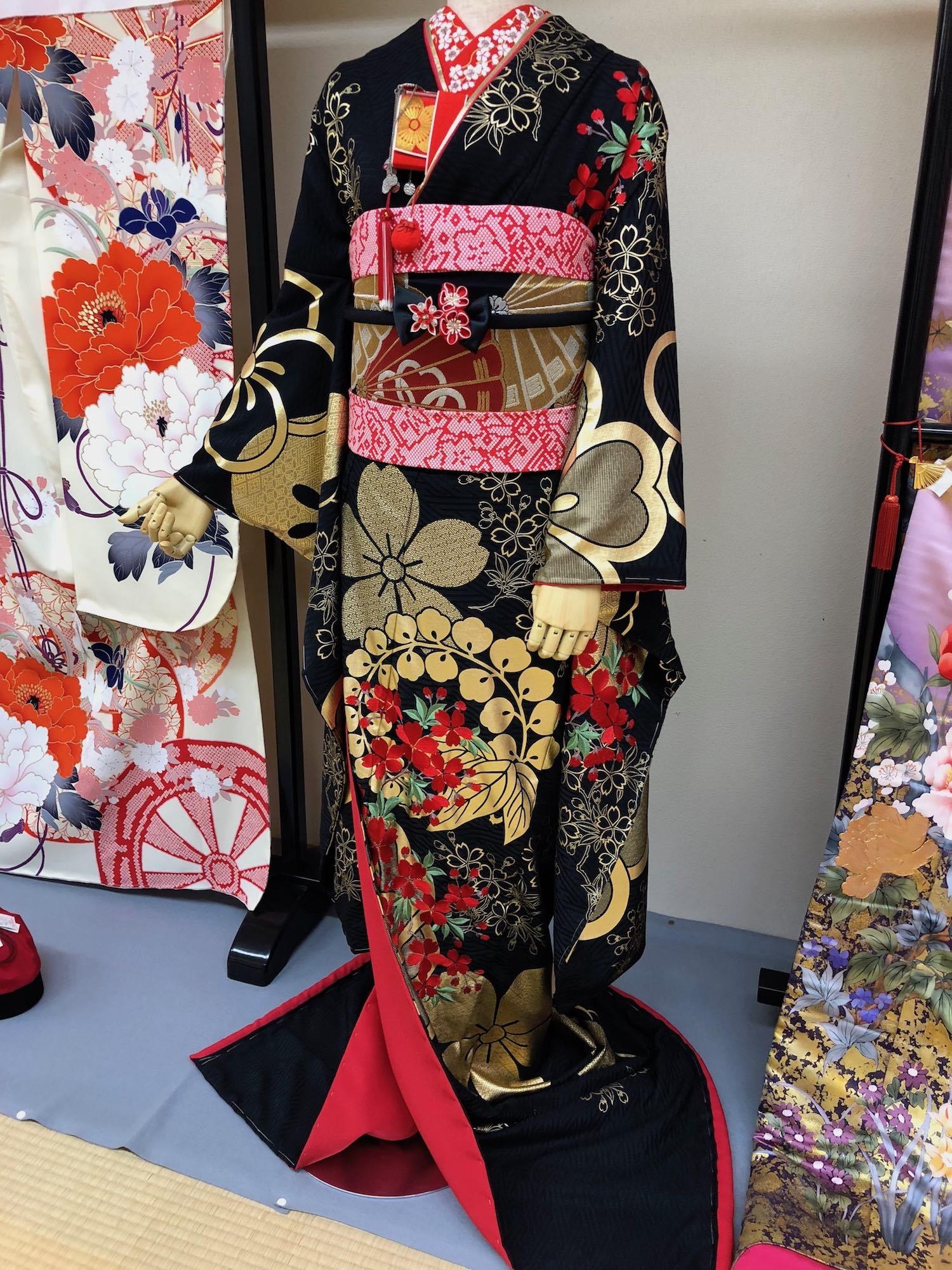 Formal traditional kimono found in kimono shop in Kyoto, Japan. boldlygotravel.com