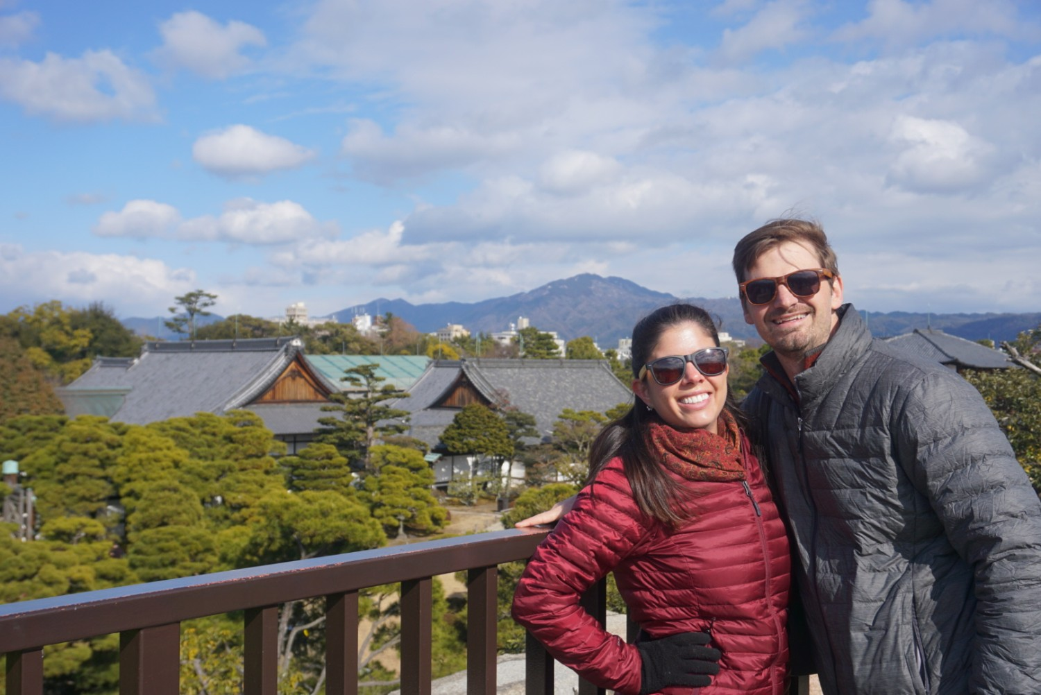 Matt and Kelly stand at the overlook point in the Nijo Castle in Kyoto, Japan. boldlygotravel.com