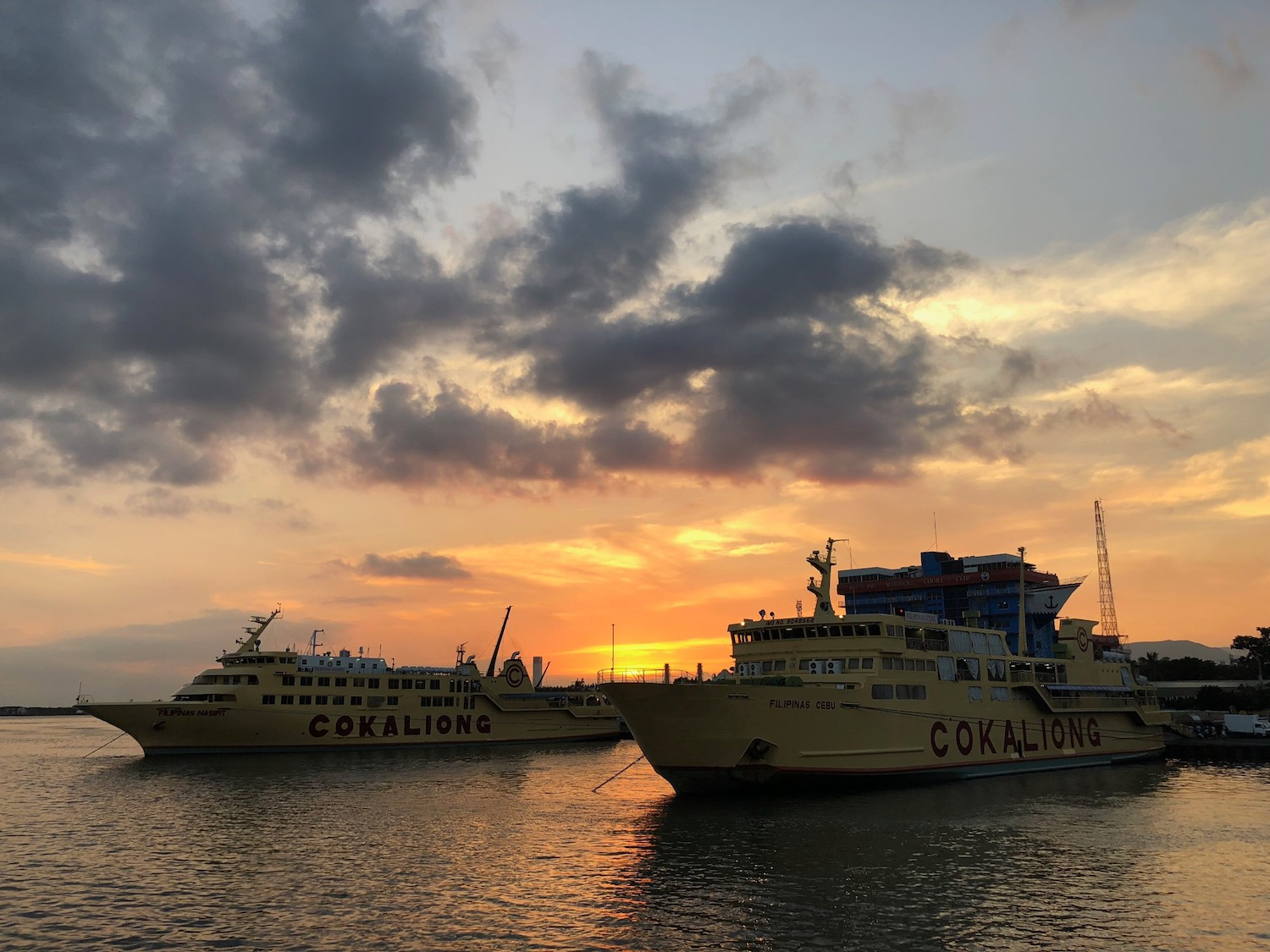 Ferry ride at sunset from Cebu to Bohol, Philippines.