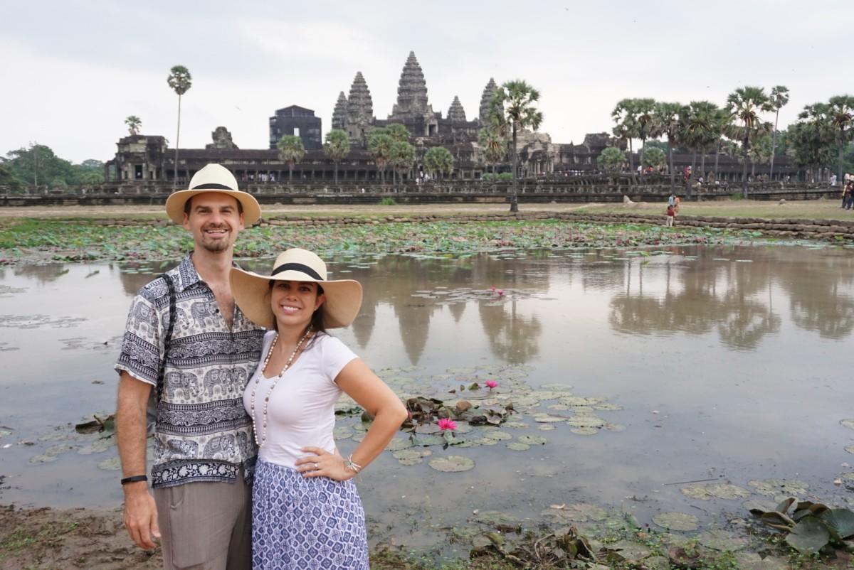 Matt and Kelly at the reflection pond at Angkor Wat, Cambodia. boldlygotravel.com