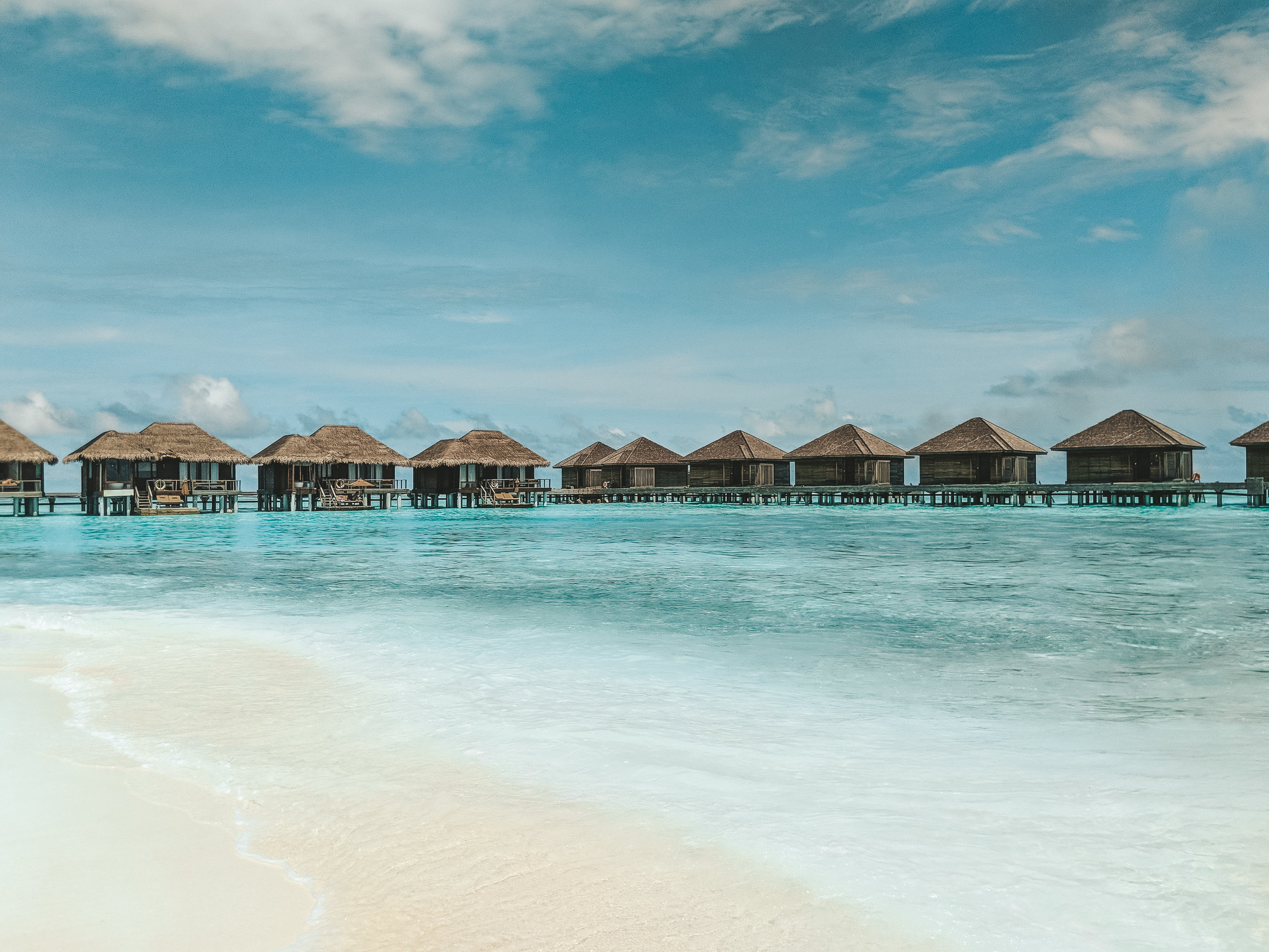 View of the bungalows at Anantara Veli, Maldives. boldlygotravel.co