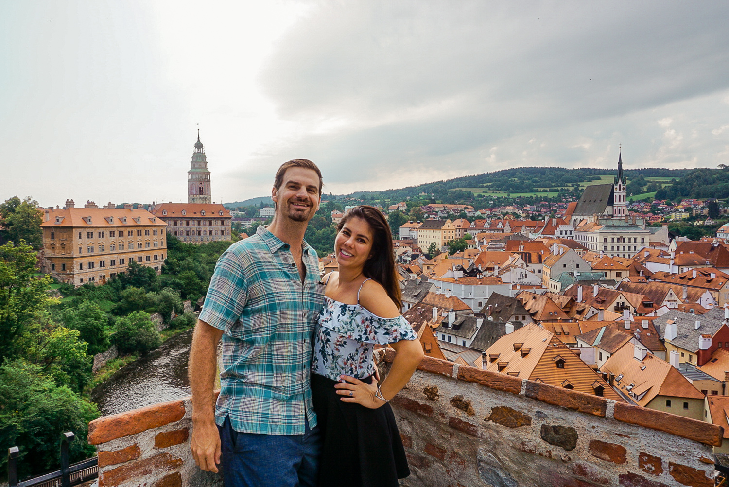 Kelly and Matt at the top of the Palace grounds in Cesky Krumlov in Czech Republic. Boldlygotravel.com