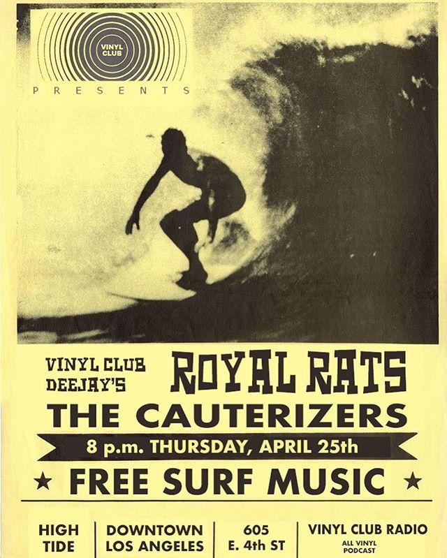 Tomorrow night!  DTLA @vinyl____club presents #surfguitar #surflosangeles #shred