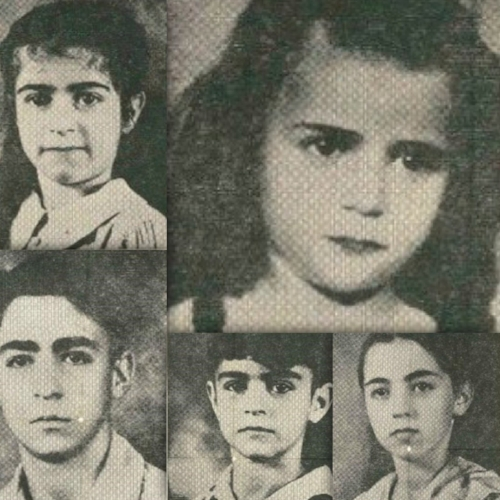From left to right: Jennie, 8; Betty, 5; Maurice, 14; Louis, 9; Martha 12