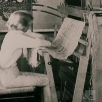 Virginia Ohta working on her loom (still from crimedocumentary.com/john-linley-frazier-killer-prophet-2013