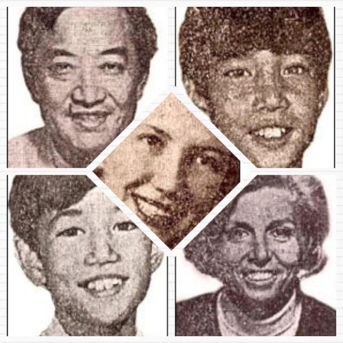 Top left to right: Dr. Victor Ohta, Derek Ohta  Bottom left to right: Taggart Ohta, Virginia Ohta  Centre: Dorothy Cadwallader