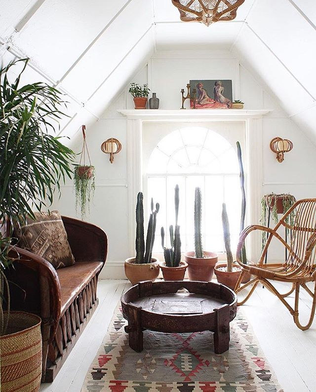 Sunday Inspiration ✨ One of the reasons I've lived in loft spaces for the last 7 years of my life is because I was obsessed with having an attic room when I was a kid.  I never got it but I loved the idea of a cozy little space with slanted ceilings and window reading nooks.  And basically I haven't changed since being a kid.  So an attic room as a sitting room is just my heaven. Beautiful light, that rattan chair and those cacti 🌵🌵🌵! I get so much inspiration from these guys home and they actually sell a lot of their vintage finds too😍 Photo by @ball_and_claw_vintage . . . . #thefunkyloft #houseplantplantclub #loft #homeadore #loftliving #loftapartment #loftdecor #flashesofdelight #attic #apartmenttherapy #houseplantclub #loftinterior #inmydomaine #homedecor #plantstyling #indoorjungle #therealhouseplantsofinstagram #interior123 #interior2u #urbanjunglebloggers #iplanteven #thisiswhyithriftshopeveryday #planteriordesign #bohemianhome #theplantedgram #myplantaesthetic #myeclecticmix #atticroom #jungalowstyle #stellarspaces