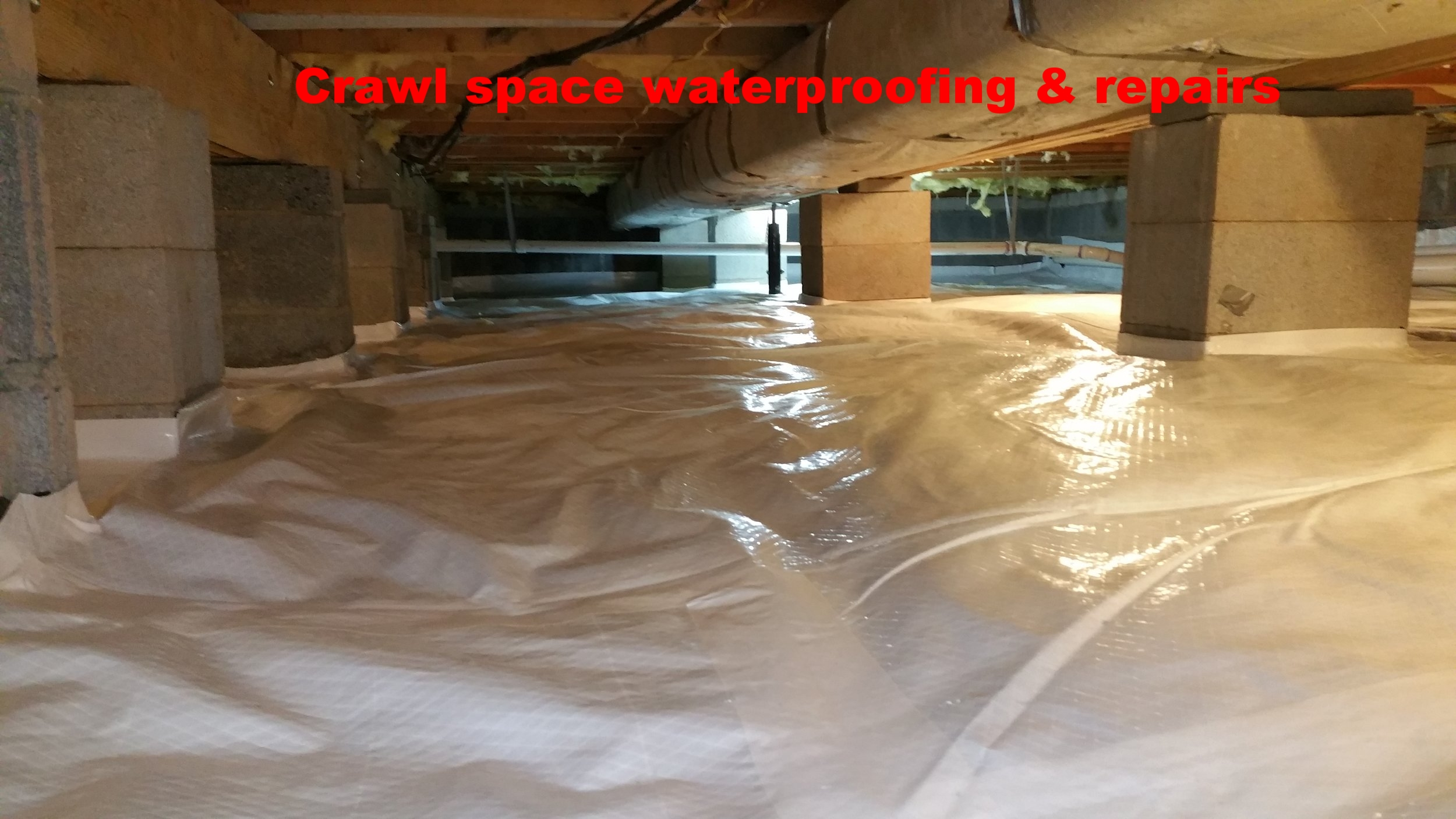 Crawl space waterproofing,