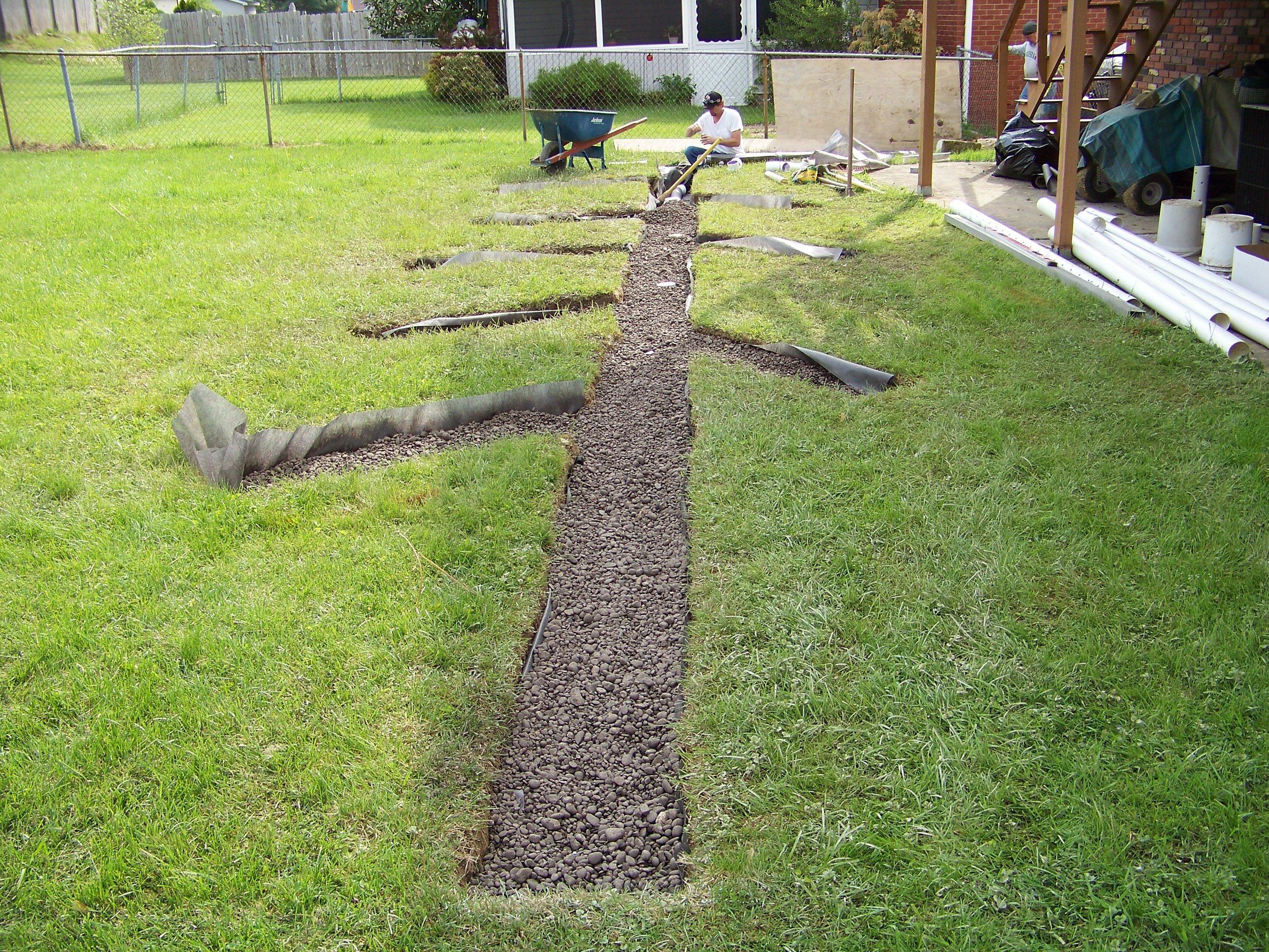 French drain to redirect standing water away from the house.