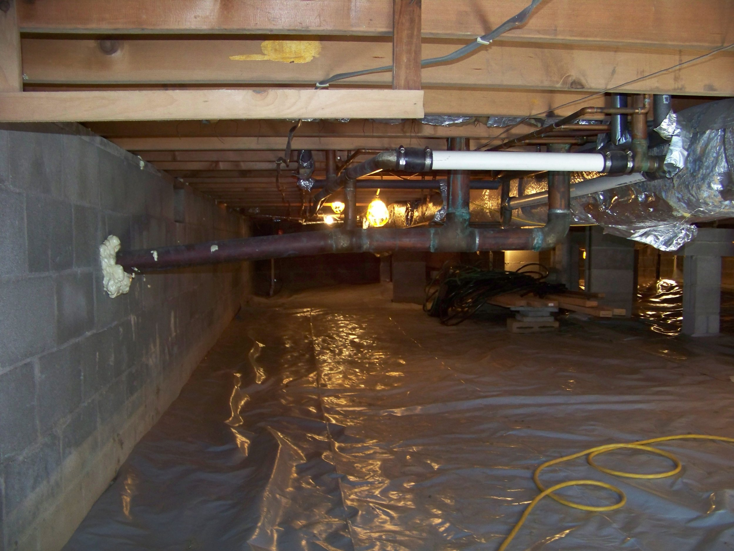 Crawl space usable, waterproofed