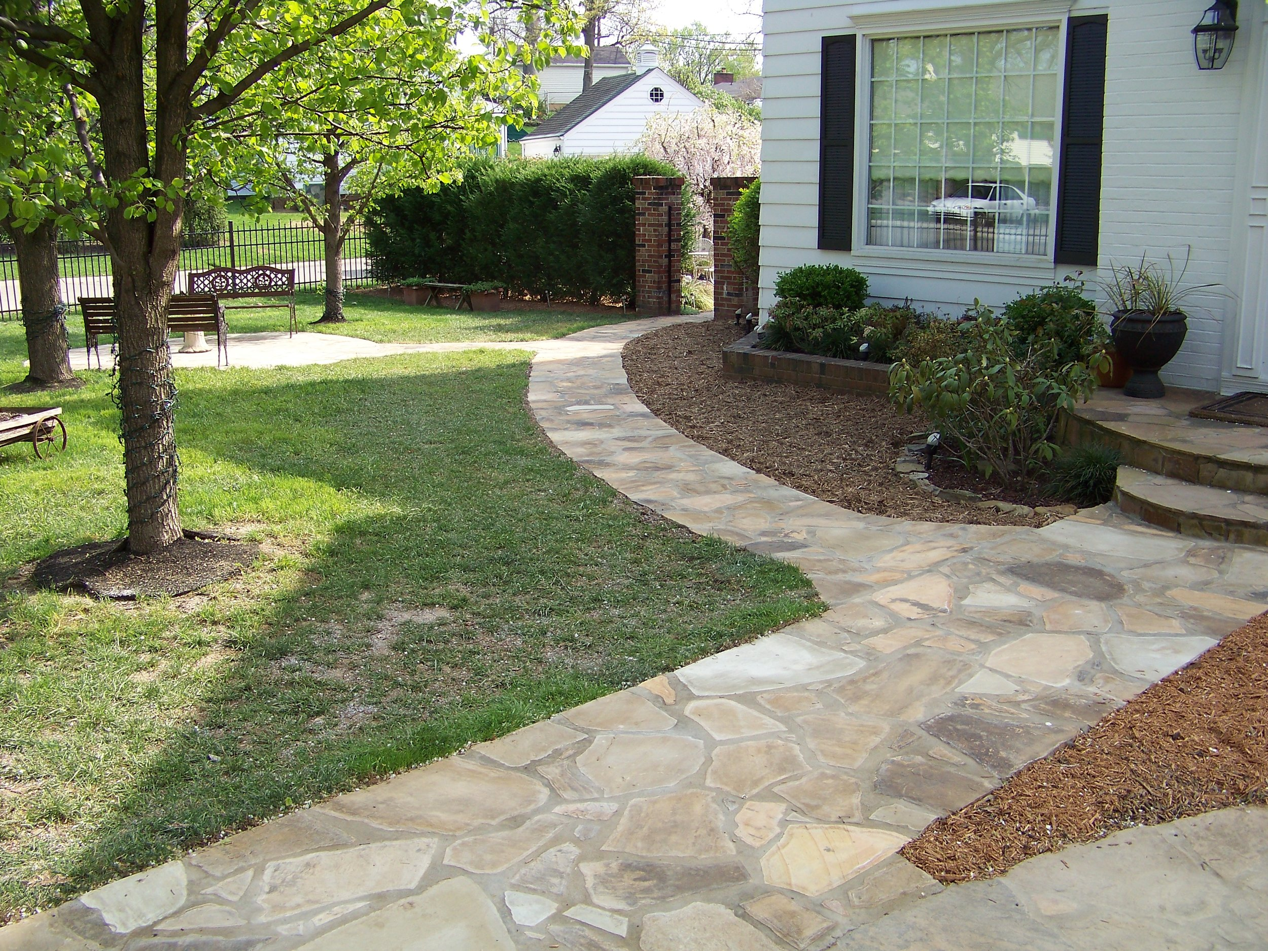 Decorative stone walkway and setting area