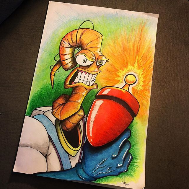 Earthworm Jim is done. 🌎🐛 . . . #earthwormjim #sketchbook #penart #copicmarkers #copic #supernintendo #segagenesis #phart4514