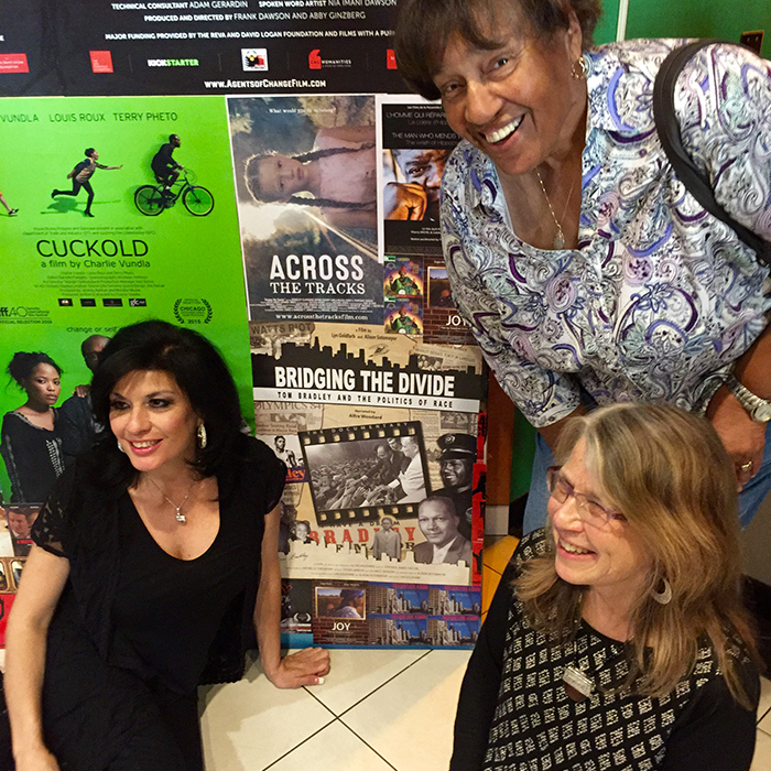 Pan African Film Festival, February 6, 2016. Alison Sotomayor, Lyn Goldfarb and Lorraine Bradley.