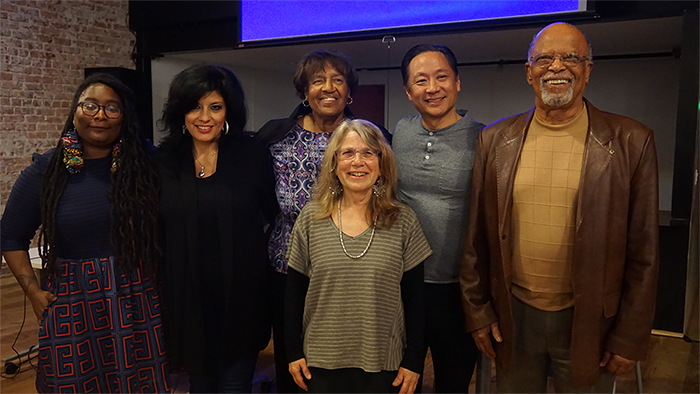 SPUR/Oakland screening, February 9, 2016. ITVS Content Development & Initiative Manager N'jeri Eaton; Alison Sotomayor; Lorraine Bradley; Lyn Goldfarb; California Humanities board member and San Francisco public defender John Adachi; and Senior Fellow of Policy Link Joe Brook.